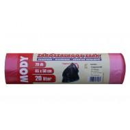 Zárószalagos zsák 45x50, 20 literes, piros, 15mikron