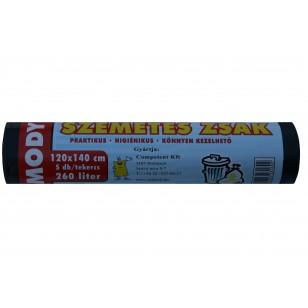Szemeteszsák 120x140 260 literes fekete, 40 mikron